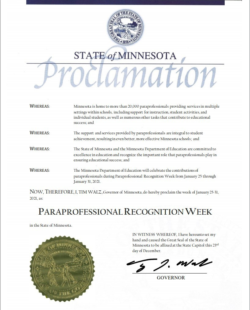 Governor Walz's Proclamation
